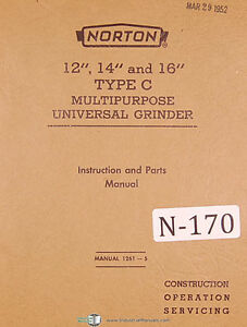 Norton 12 14 16 Type C Universal Grinder Instructions Parts Manual