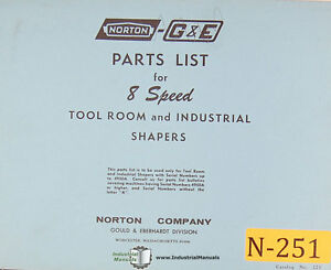 Norton 8 Speed Tool Room And Industrial Shapers Parts Manual 1966