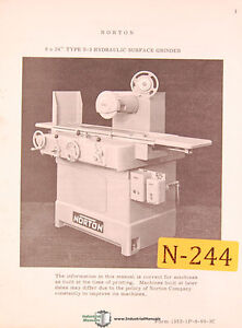 Norton 8 X 24 S 3 Surface Grinder Instructions And 1352 1 Parts Manual 1960