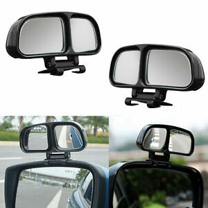 2x Dual Adjustable Blind Spot Mirrors Wide Angle Rear View Convex Fit Car Truck