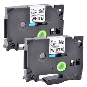 2pk Black On White Label Tape 12mm For Brother Tz 231 Tze 231 P touch Pt d210