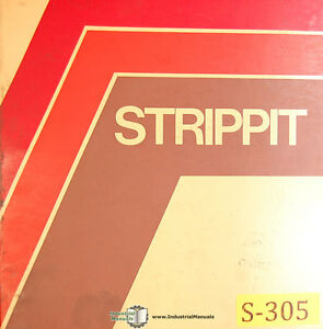 Strippit 30 T saf Punching Notching Machine Operations Mainteancne Manual 1977