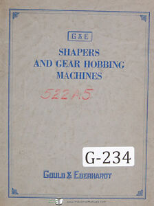 Gould Eberhardt 9h Manufacturing Type Gear Hobbing Operations Manual 1929