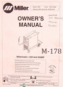 Miller Millermatic 250 250mp Welding Power Source Operations And Parts Manual