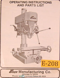 Enco 1 1 4 Complex Drilling And Milling Machine Operations And Parts Manual