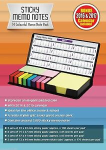 Sticky Memo Post It Note Calendar Set Faux Leather Case Planner Inc 2014 17
