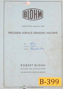 Blohm Hfs6 Surface Grinding Machine Operating And Parts German Manual 1959
