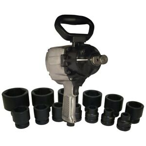 1 Drive Air Impact Wrench With 13 Piece Sae Socket Set Kti81795 Brand New