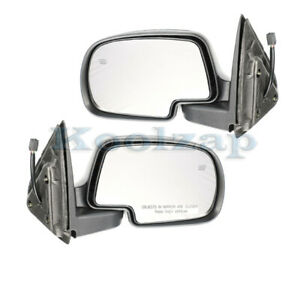 Chevy Pickup Truck Power Heat Fold W puddle Lamp Mirror Left Right Side Set Pair