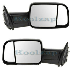09 12 Ram Pickup Truck Manual Fold Flip up Tow Mirror Left Right Side Set Pair
