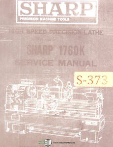 Sharp 1760k Lathe Service And Parts Manual