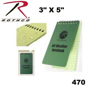 Military Olive Drab Green All Weather Waterproof Notebook 3 X 5 Rothco 470