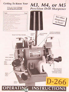 Darex M3 M4 M5 Precision Drill Sharpener Operator Instruction And Parts Manual