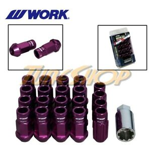 Work Racing Rs R Extended Forged Aluminum Lock Lug Nuts 12x1 5 1 5 Purple Open H
