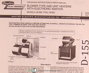 Dayton Blower Gas Unit Heaters With Electric Ignition 3e389 Thru 3e392 Manual