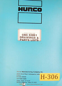 Hurco Kmb1 Milling Machine Electrical Drawings And Parts List Manual 1983