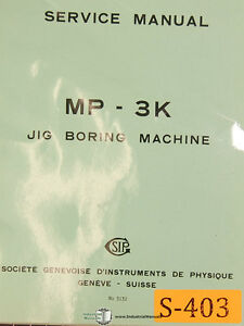 Sip Mp 3k Jig Boring Machine Service And Parts Manual