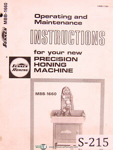 Sunnen Mbb 1660 Honing Machine Operator s Instructions And Maintenance Manual