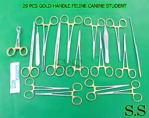29 Pcs Gold Handle Feline Canine Student Dissection Spay Pack Kit Blades 10