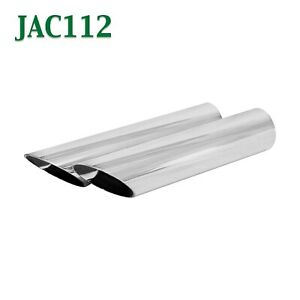 Jac112 Pair 1 5 Chrome Cowboy Exhaust Tips 1 1 2 Inlet 1 3 4 Outlet 8 Long