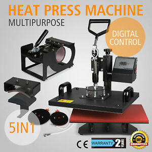 15x12 5in1 Digital Transfer Sublimation Heat Press Machine T shirt Mug Plate