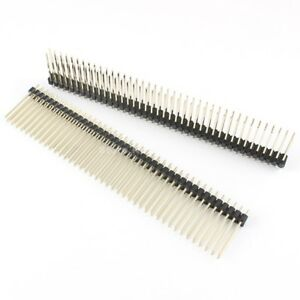 50pcs Gold Plated 2 54mm Pitch 2x40 Pin Double Pin Header Strip Pin Length 21mm