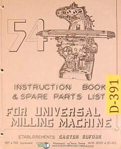 Dufour Gaston No 54 Universal Milling Instructions And Spare Parts Manual