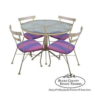 Lee Woodard Sons Rare Mid Century Modern 5 Piece Round Patio Table Chairs Set