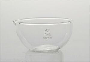Lab Glass Evaporating Dish Flat Bottom With Spout 120mm New
