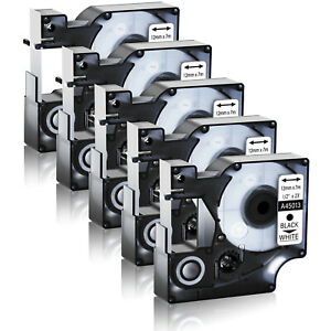 5pk Black On White For Dymo D1 45013 S0720530 Labelmanager 100 150 Label Tape