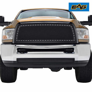 10 12 Dodge Ram 2500 3500 Hd Grille Front Black Stainless Mesh W Rivet Studded