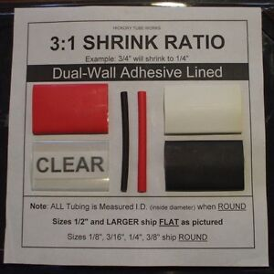 3 8 Clear 4 Ft Dual wall Adhesive Lined Heat Shrink Tubing 3 1 Ratio