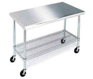 Commercial Prep Table Stainless Steel Cart Kitchen Equipment Chef Island Cafe