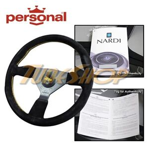 Italy Personal Grinta 330mm Steering Wheel Black Suede Yellow Stiching Horn