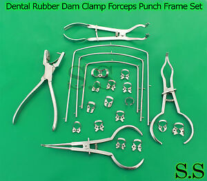 Dental Rubber Dam Clamp Forceps Punch Frame Set 22 Pieces Dn 533