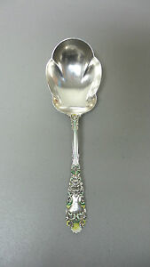 Unusual Dominick Haff Sterling Silver Enamel Renaissance Berry Spoon