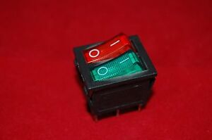 2pcs Double 2 Position Rocker Boat Switch Red And Green Light Illuminated 110v