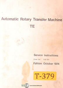 Traub Te Automatic Rotary Transfer Machine Service And Parts Manual 1974