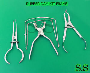 Rubber Dam Kit Frame ainsworth Punch ivory Forcep stoke Clamp Endodontic Dn 472
