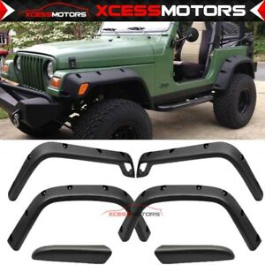 Fits 97 06 Jeep Wrangler Tj 7 Wide Pocket Rivet Fender Flares Cover Protector