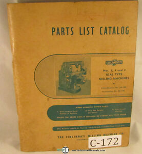 Cincinnati 2 3 4 Milling Machine 130 Page Parts List Manual