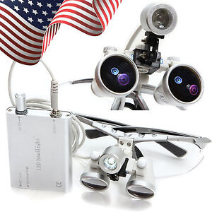Usa Dentist Dental Surgical Binocular Loupes 3 5x 420mm With Led Head Light Lamp