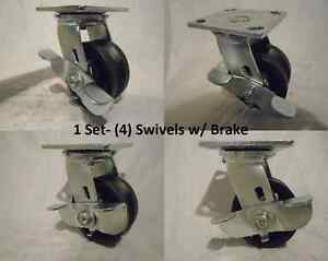 4 X 2 Swivel Caster With Brake 7 8 V groove Iron Steel Wheel 600lbs Each 4