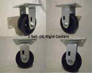 4 X 2 Rigid Caster 7 8 V groove Iron Steel Wheel 600lbs Each 4
