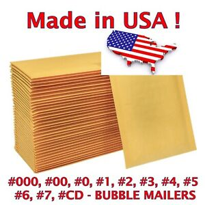 Kraft Bubble Mailers Padded Envelopes 0 1 2 3 4 5 6 7 00 000 Cd