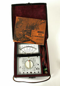 Vintage 1972 Weston Model 663 Volt Ohm Milliammeter Leather Case Manual Works
