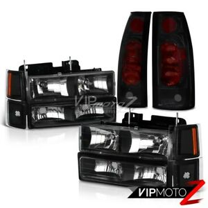 10pc Combo Bumper Corner Headlamps Sinister Black Tail Lights 94 98 Silverado