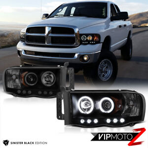Limited Sinister Black 2002 2005 Dodge Ram 1500 2500 3500 Ccfl Halo Headlights