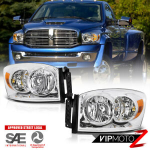 Fit 2007 2009 Dodge Ram 2500 3500 Chrome Factory Style Headlights Housing Pair