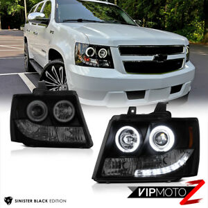 07 14 Chevy Suburban Tahoe Sinister Smoke Black Ccfl Halo Ring Led Drl Headlight